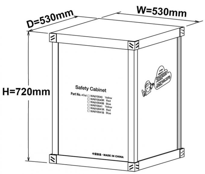 Red Flammable Safety Cabinets 4 Gallon For Chemical Paint And Inks Storage