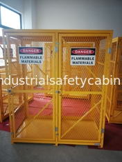 "China 71-3/4"" X 60"" X 30"" Assembled Yellow Industrial Safety Cabinets Gas Cage Cylinder Storage supplier"