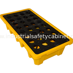 China Convenient 4 Drum / 2 Drum Spill Containment Pallet With Drain For Oil Drum supplier