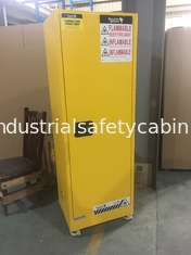 China Yellow Industrial Safety Cabinets , Flame Proof Storage Cabinets With Double Lock with wheel supplier