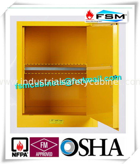 China Yellow Industrial Safety Cabinets , Flame Proof Storage Cabinets With  Double Lock Supplier