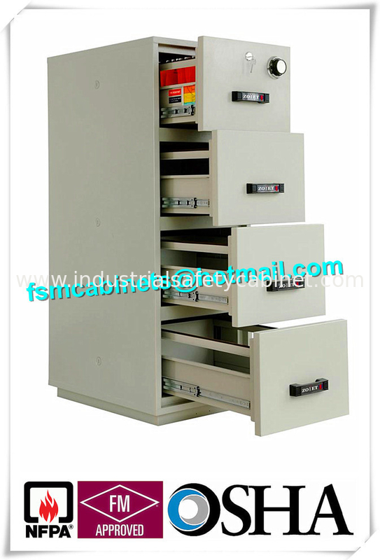 China UL Vertical Metal Fire Resistant Filing Cabinets Fireproof 4 Drawers  For Storing Documents Supplier