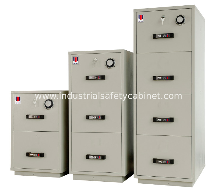 China Steel Fireproof Waterproof File Cabinet Two Drawer Lockable 2 Hours Fire Rating Supplier