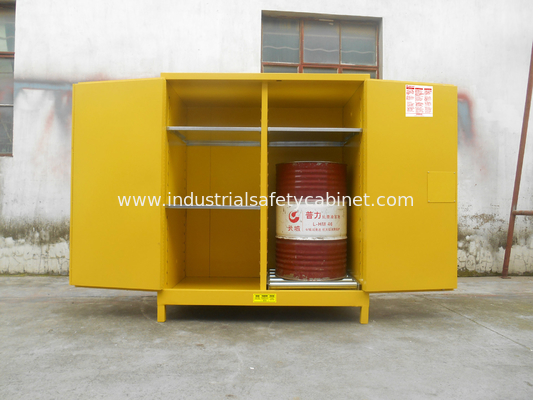 110 Gallon Yellow Drum Storage Cabinets With Removable Roller For Oil Paint