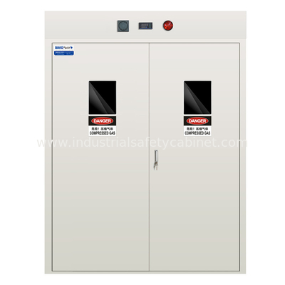 Fire Resistance Steel Gas Cylinder Storage Cabinet White with Gas Detector