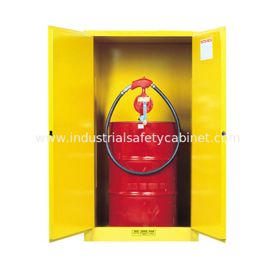 Flame Proof 2 Door Drum Storage Cabinets 60 Gallon For Chemical Liquid