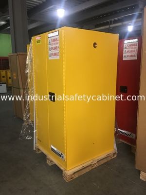 Yellow Industrial Safety Cabinets , Flame Proof Storage Cabinets With Double Lock 60 galloncapacity